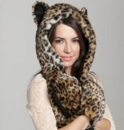 Faux Fur Animal Scarf Hat