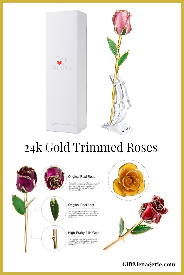 24k Gold Trimmed Roses